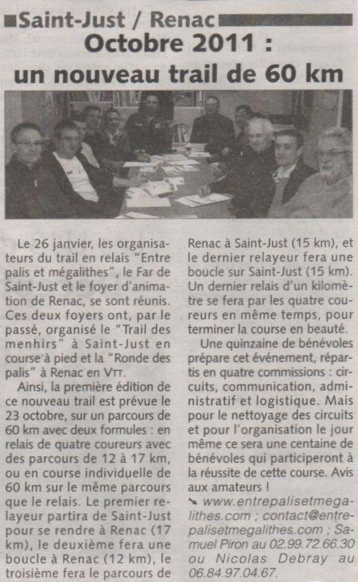 """""""Les infos du Pays de Redon"""" 8 février 2011"""